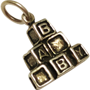 Sterling Silver Baby Building Blocks Pendant / Charm ABC Blocks 925