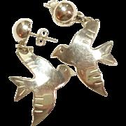 Solid Sterling Silver Bird Earrings Post style Dangle 925