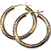 Two Tone Etched Diamond Cut 1/20 10k Gold Filled over Sterling Silver Hoop Earrings 925