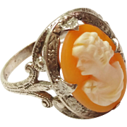SOLD Vintage Sterling Silver Cameo Ring Lady Face Profile  Size 6 1/2