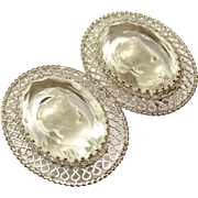Vintage Clear Reversed Carved Glass Cameo Earrings Whiting and Davis Co