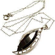 Vintage Silver Tone Link Necklace with Marcasite Stone Pendant