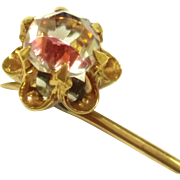 SALE Vintage Faux mystic topaz stone 14k and 10k gold Stick Pin