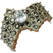 Vintage Quartz and Marcasite Sterling Silver ring  Size 5 3/8