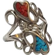 Sterling silver turquoise chip, coral chip double heart ring