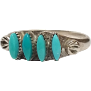 REDUCED Beautiful little sterling silver turquoise Zuni ring Size 5 3/8