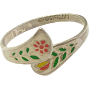 Vintage Sterling Silver White Red Enamel Adustable Ring with Flowers