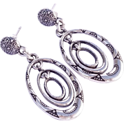 Stunning Sterling Silver Stamped Native American Drippy Earrings