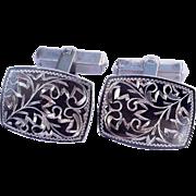 Spectacular pair of .950 Silver Men's Cufflinks