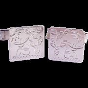 Pair of engraved sterling silver men's cufflinks