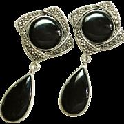 SALE Beautiful Black Onyx Marcasite Sterling Silver Drop Earrings Post style
