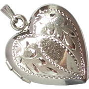SALE Pretty Etched Vintage Sterling Silver Heart Locket Pendant marked M Sterling
