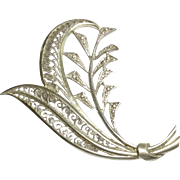 Vintage 835 Silver Filigree Leaf Pin Booch