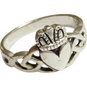 Vintage Sterling Silver Irish Claddagh Ring Size 5 3/4