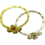 Sterling Silver Hammered Flower Rings Size 6 1/2
