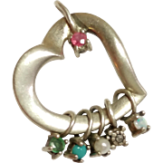 SALE Vintage Lenox Sterling Silver Heart Pendant w/semi precious stones 925