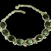 SALE Vintage Thermoset Plastic Cabochon Necklace Silver Tone