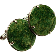 Vintage Large Green Stone Cuff links Cufflinks