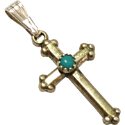 SALE Tiny Vintage  Sterling Silver with Turquoise Cabochon Cross Pendant
