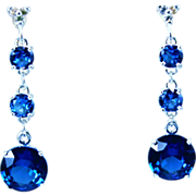 SALE Genuine Diamond Lab Grown Blue Spinel Three Drop Dangle Earrings