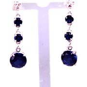 SALE Genuine Diamond Lab Grown Blue Sapphire Three Drop Dangle Earrings