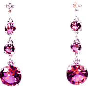 SALE Genuine Diamond Lab Grown Pink Tourmaline Three Drop Dangle Earrings