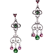 SOLD Genuine Green Topaz Lab Grown Pink Sapphire Dangle Drop Earrings