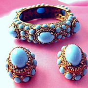SOLD Reduced Earliest Signature-K.J.L.1960's-70's  Kenneth J Lane Turquoise Cabochon Hinged Br