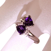 SALE Vintage 14 Karat White Gold Diamond Amethyst Bypass Right Hand Ladies Dress  Ring