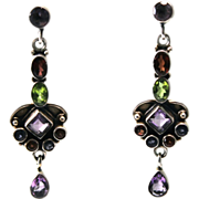 SALE Tourmaline Tanzanite Peridot Amethyst Sterling Drop Earrings