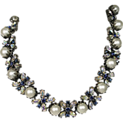 SALE Vintage Vendome Mid Century Faux Sapphire Pearl Necklace
