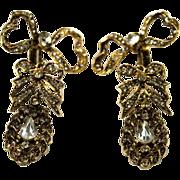 SOLD KJL Kenneth Lane Double Dangle Chandelier Bow Earrings