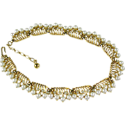 Vintage Trifari Faux Pearl Choker Necklace