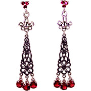 Lab Created Ruby Shoulder Duster Drop Earrings