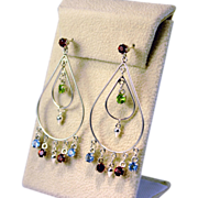 Large Double Hoop Dangling Multi Gemstone Earrings