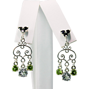 Art Nouveau Style Swiss Blue Topaz Peridot Black Spinel Dangling Earrings