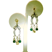 Art Nouveau Style Green Topaz Citrine Dangle Drop Earrings