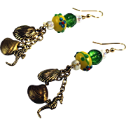 Artisan Sea Horse Shell Charm Lampwork Dangle Earrings