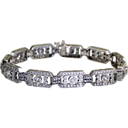 SALE Estate 14 Karat White Gold Diamond Bracelet Fine Heirloom Pre Owned Jewelry