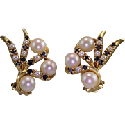 Estate 14 Karat Yellow Gold Pearl Topaz Earrings