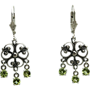 SALE Peridot Gemstone Dangle Drop Snowflake Earrings