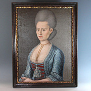Rare Mid 18th Century Oil on Canvas Portrait of a French Lady with Lace Dress