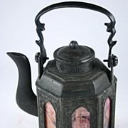 Chinese Tin Signed Tea pot, Republic Era  九棱春宫图锡茶罐