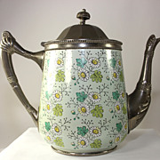 Unique Mint Green Enamel Ware and Plate Coffee Pot, Lined