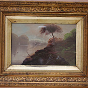 Romantic Oil on Board Painting of a Landscape with Trees and Sail Boats