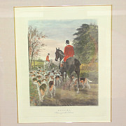 Nice framed engraving of a painting by E A S Douglas: Evening, returning to the kennels