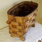 19th C New England Swing Handle Oak Splint Footed Basket