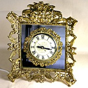 Vintage Ormolu and Mirror Electric Shelf Clock