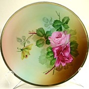 Beautiful Hand Painted Signed Jaeger & Co Cabinet Plate Roses