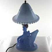 Vintage all original blue glass boudoir lamp, lady with a harp